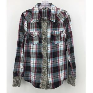 BKE Plaid Flannel Shirt M Snap Long Sleeve Winter